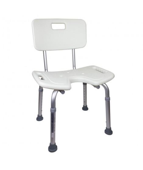 Silla de baño asiento en U altura regulable con respaldo