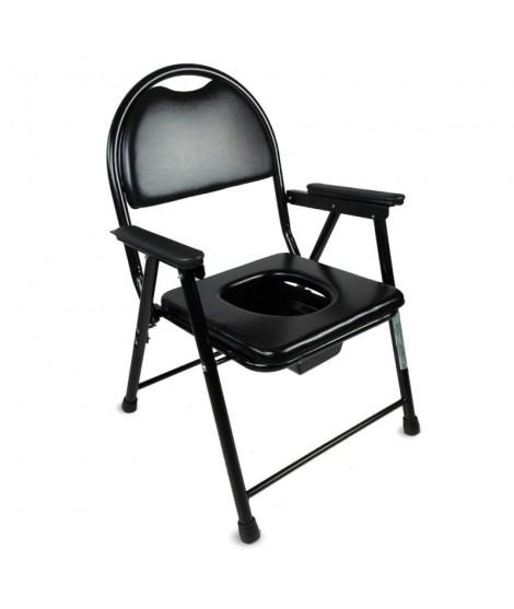 Silla WC plegable y acero cromado con reposabrazos