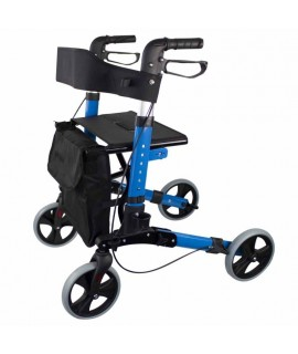 Andador para ancianos deluxe aluminio plegable con frenos, asiento y respaldo