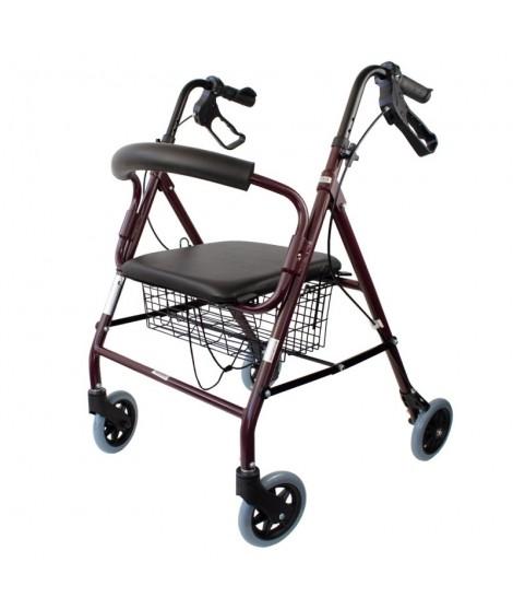 Andador rollator de aluminio, plegable con frenos de maneta y asiento